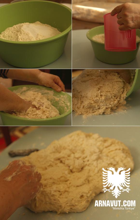 Arnavut Böreği hamurunun hazırlanış resmi