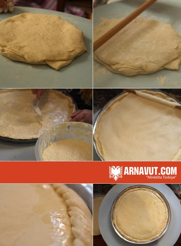 Arnavut böreğinin hazırlanışı